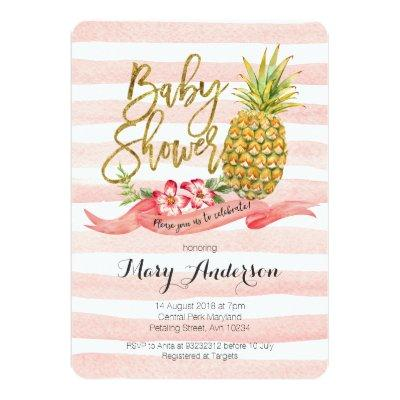 Tropical Pineapple Baby Shower Invitations