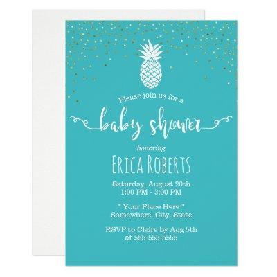 Tropical Pineapple Baby Shower Modern Turquoise Invitation