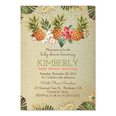 tropical pineapple beach lights baby shower Invitations