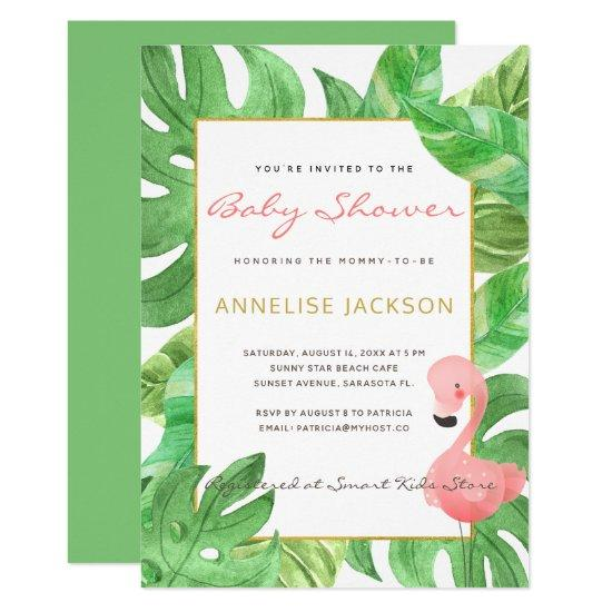 7780c91c2b5d Tropical pink flamingo green leaves baby shower card