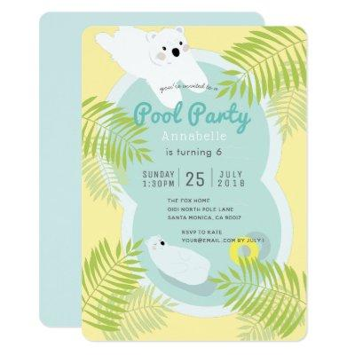 Tropical Polar Bear Pool Party Birthday Invitation