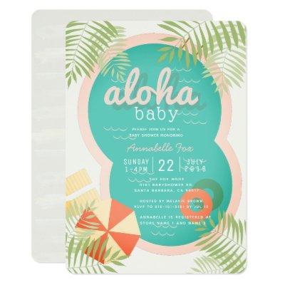 Tropical Pool Beige Aloha Baby Shower Invitation