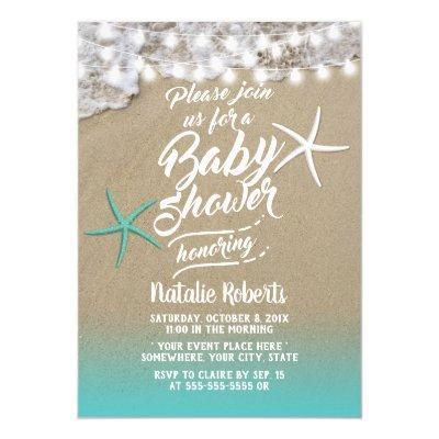 Tropical Summer Beach Starfish Baby Shower Invitation