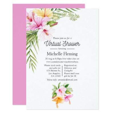 Tropical Summer Floral Virtual Baby Shower Invitation