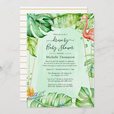 Tropical Summer Geometric Drive By Shower Invitation