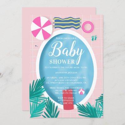 Tropical swimming pool fun summer baby shower invitation