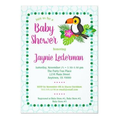 Tropical Toucan Baby Shower Invitation