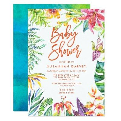 Tropical Watercolor Calligraphy Baby Shower Invitations