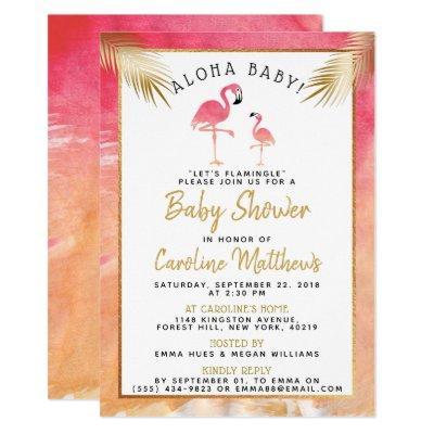 Tropical Watercolor Flamingo Baby Shower Invitation