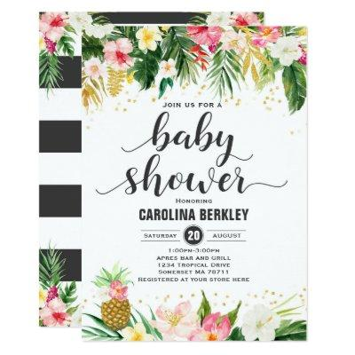 Tropical Watercolor Floral Baby Shower Invitation