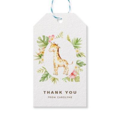 Tropical Watercolor Giraffe Summer Thank You Gift Tags