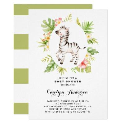 Tropical Watercolor Zebra Summer Baby Shower Invitation