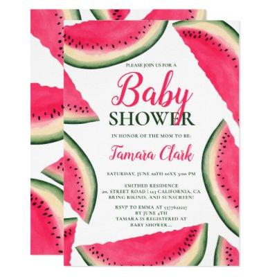 Tropical watermelon watercolor baby shower invitation