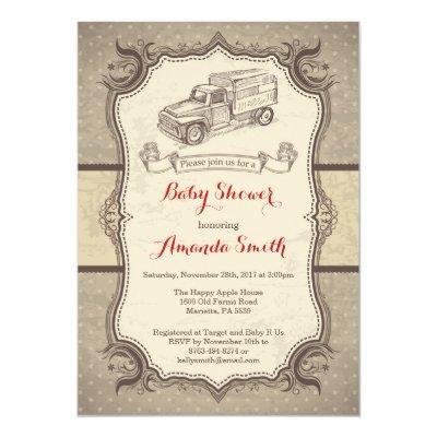 Truck Baby Shower Invitation Vintage Retro