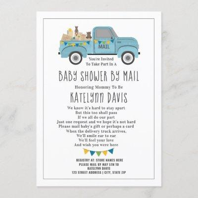 Truck Social Distancing Blue Baby Shower By Mail Invitation
