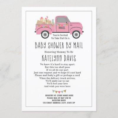 Truck Social Distancing Pink Baby Shower By Mail Invitation