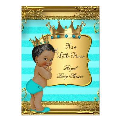 Turquoise African American Prince Invitations