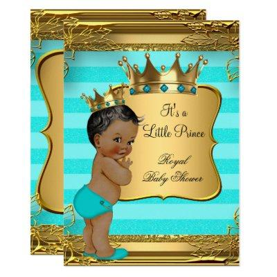 Turquoise African American Prince Baby Shower Invitations