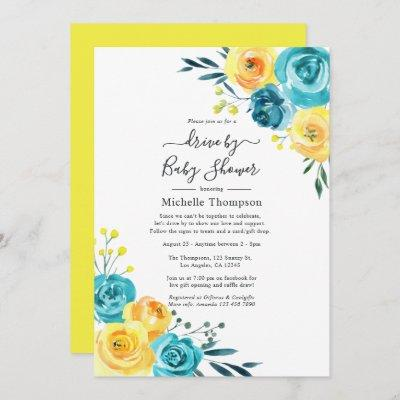 Turquoise and Yellow Floral Drive By Shower Invitation