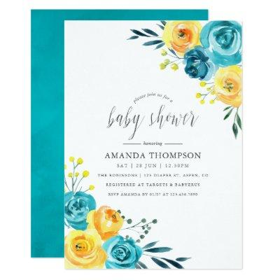 Turquoise and Yellow Watercolor Floral Baby Shower Invitation