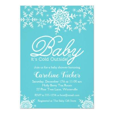 Turquoise Baby Its Cold Outside Winter Baby Shower Invitation