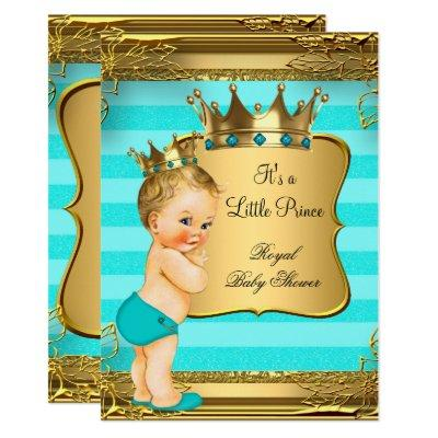Turquoise Blonde Baby Shower Prince Baby Boy Invitation