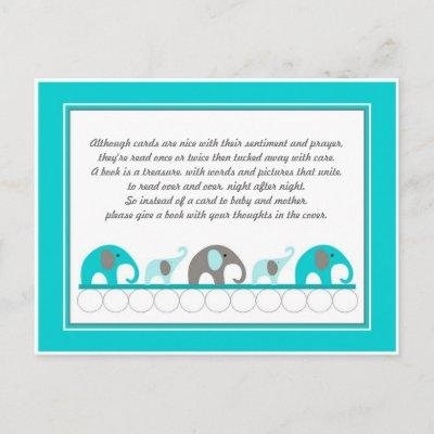 Turquoise blue Elephants Insert Book Baby Shower Invitation Postcard