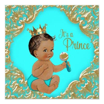 Turquoise Blue Gold Ethnic Prince Baby Shower Invitations