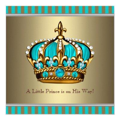 Turquoise Blue Gold Prince Baby Shower Invitations