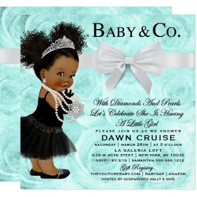 Turquoise Blue Watercolor Baby Shower Invitation