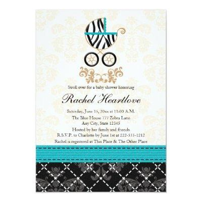 Turquoise Blue Zebra Print Carriage Baby Shower Invitation