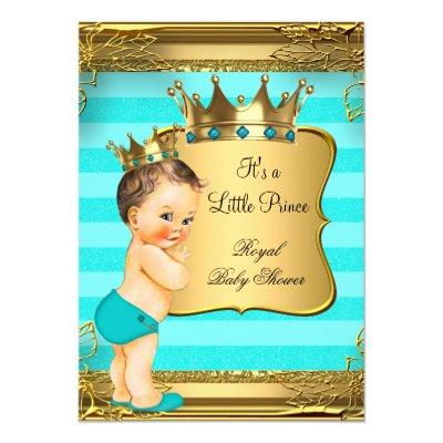 Turquoise Brunette Prince Baby Boy Invitations