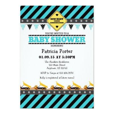 Turquoise Construction Baby Shower Invitations