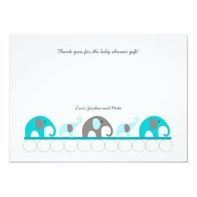 Turquoise elephant thank you note Invitations