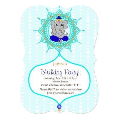 "Turquoise Ganesh Birthday 5"" x 7"" invitation card"