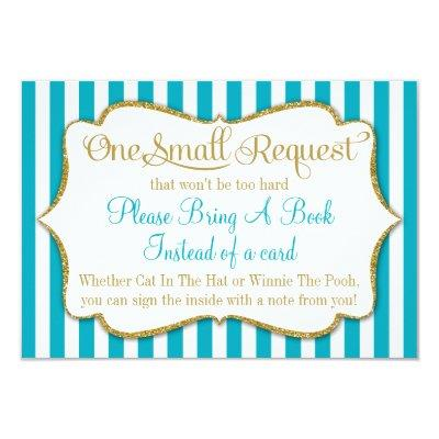 Turquoise Gold Book Invitations Bring A Book