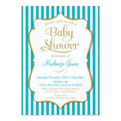 Turquoise Gold Baby Shower Invitation Neutral Aqua