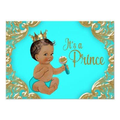 Turquoise Gold Ethnic Prince Baby Shower Invitation