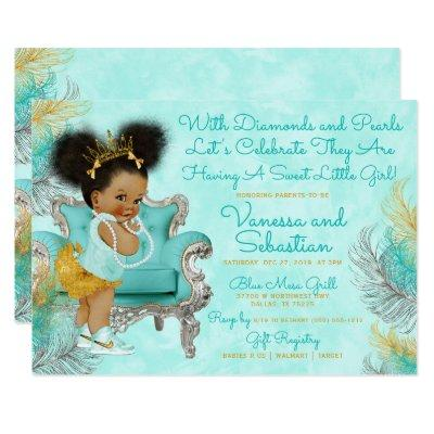 Turquoise Gold Feather Baby Shower Invitation