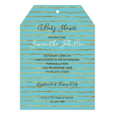 Turquoise Gold Glam Stripes Baby Shower Invitation