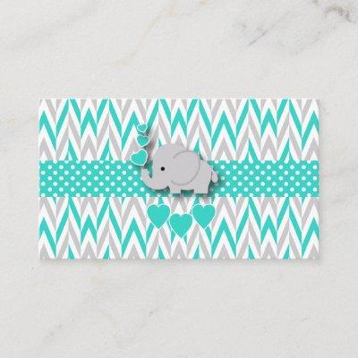 Turquoise & Gray Elephant Baby Shower Book Request Enclosure Invitations