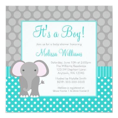 Turquoise Gray Elephant Polka Dot Boy Baby Shower Invitation