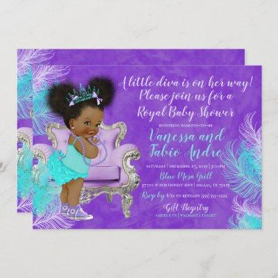 Turquoise Lavender Watercolor Baby Shower Invitation