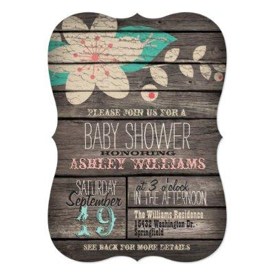 Turquoise & Pink Flower on Rustic Wood Baby Shower Invitations