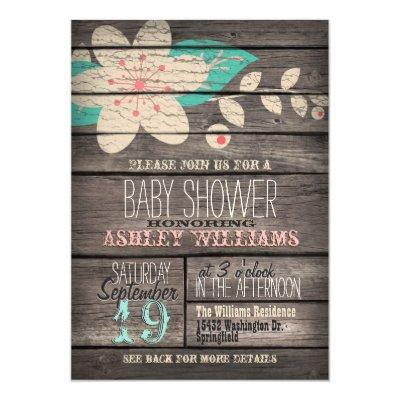 Turquoise & Pink Flower, Rustic Wood Invitations