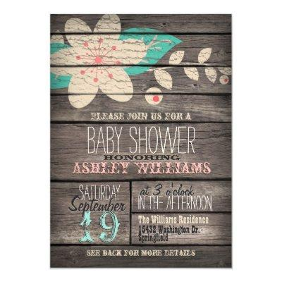 Turquoise & Pink Flower, Rustic Wood Baby Shower Invitations