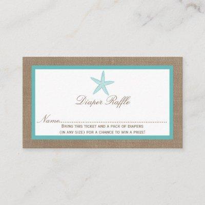 Turquoise Starfish Beach Baby Shower Diaper Raffle Enclosure Invitations