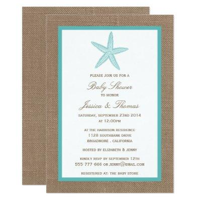 Turquoise Starfish Burlap Beach Baby Shower Invitation