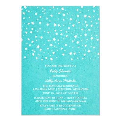 Turquoise Starry Night Baby Shower Invite