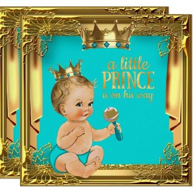 Turquoise Teal Blonde Prince Baby Shower Invitation